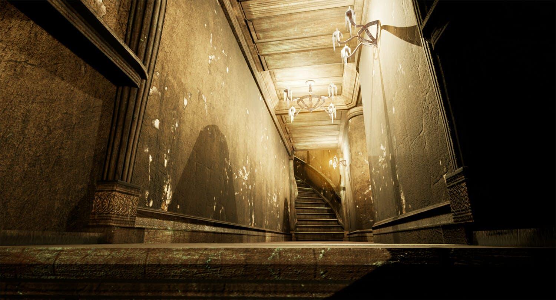 Creepy hallway in Montecrypto game