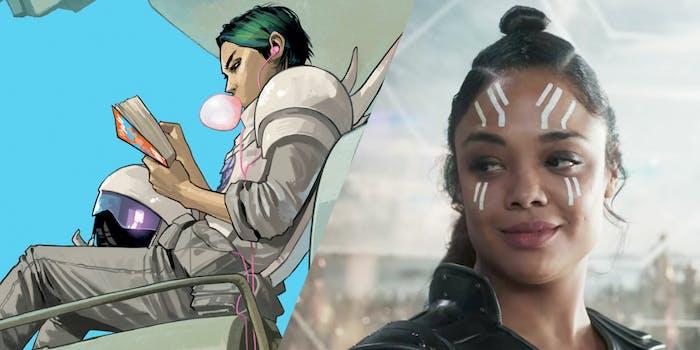 Screengrab of Tessa Thompson as Valkyrie in Thor: Ragnarok next to a comic illustration of Alana from Saga.