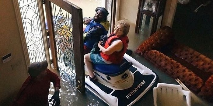 Woman evacuated from her living room by man on a jet ski