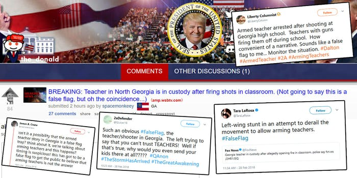 A teacher in Georgia was arrested on Wednesday after reports of shots being fired at a school. People on Twitter are already calling it a 'false flag,' in light of Trump's suggestion to arm teachers in the wake of the Parkland shooting.