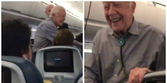 Jimmy Carter handshakes airplane