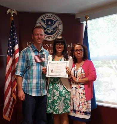 Meza on the day of her naturalization ceremony /