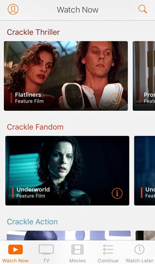 free movie apps : Crackle