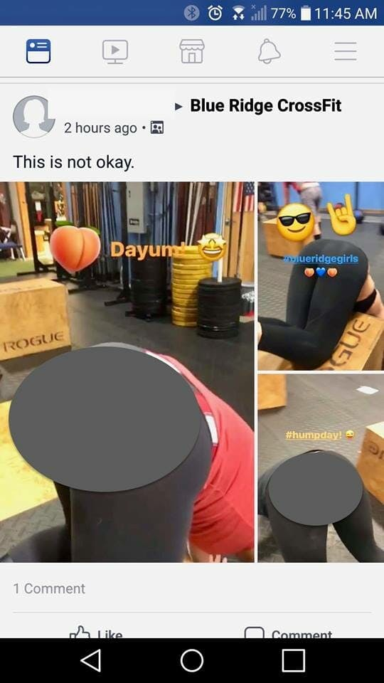 Censored images of women's rears in a video taken by Blue Ridge CrossFit owner Tom Tomlo that appear to sexualize gym members.