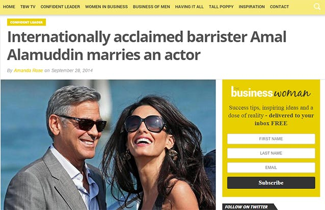 """Screenshot of business woman media article. The headline reads """"Internationally acclaimed barrister Amal Alamuddin marries an actor."""""""