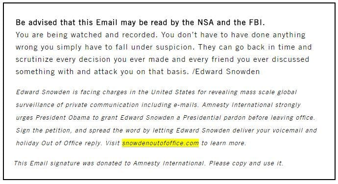 Personal email message from Edward Snowden