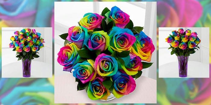 Rainbow-colored rose boquets