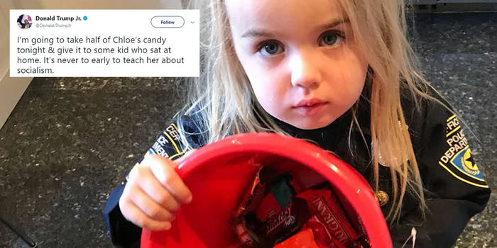 """Donald Trump Jr tweets """"I'm going to take half of Chloe's candy tonight & give it to some kid who sat at home. It's never to early to teach her about socialism"""""""