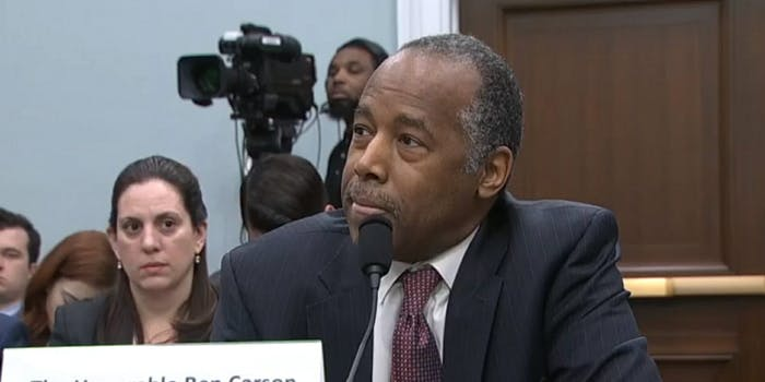 HUD Sec. Ben Carson thinks cis women will be uncomfortable sharing a homeless shelter with trans women.