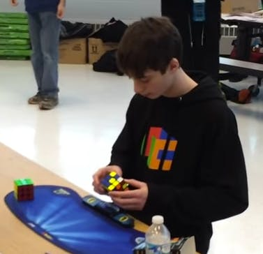 Lucas Etter Solved a standard 3x3 cube in 4.9 seconds