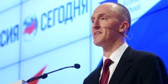 Former Trump campaign advisor Carter Page giving a speech in Moscow.