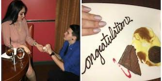 fake marriage proposal free dessert texas