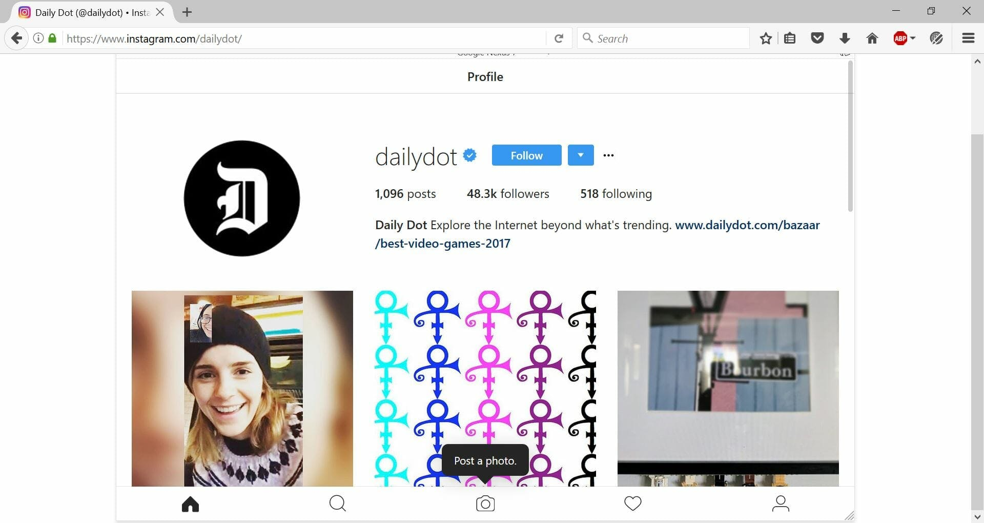 How to post Instagram photos on a Mac or PC : Firefox