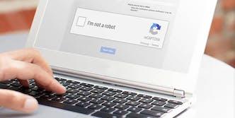Google reCAPTCHA system on laptop