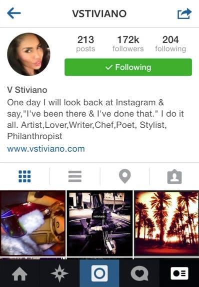 V Stiviano Instagram screenshot