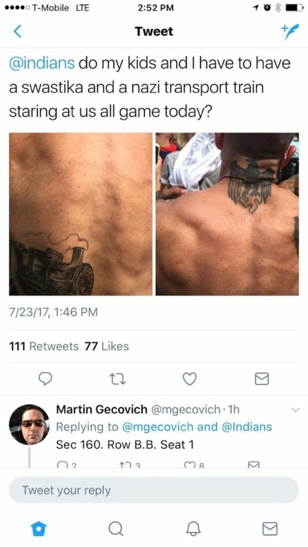 Nazi tattoo Indians game