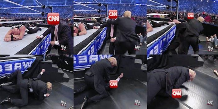Donald Trump wrestling with CNN