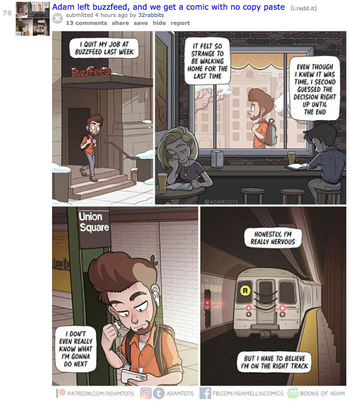 Adam Ellis, the illustrator behind the 'Dear David' ghost saga, created a comic about leaving his job at BuzzFeed.